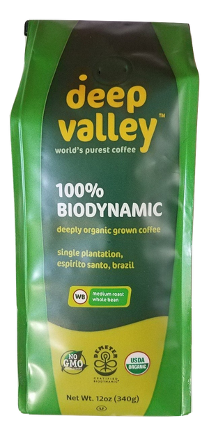 Deep Valley Certified BioDynamic Organic Whole Bean Coffee, Medium Roast, 12 oz - Snazzy Gourmet