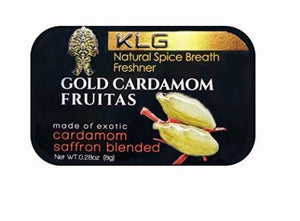 KLG Gold Cardamom Fruitas Natural Spice Breath Freshener w/24k Edible Gold, CASE (12-Pack)