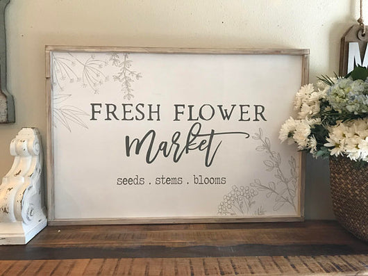 Fresh Flower Market - Framed Wood Sign