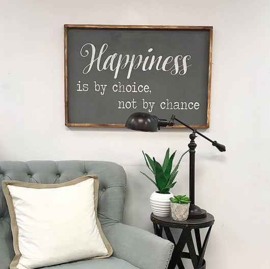 Happiness - Framed Wood Sign