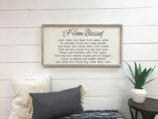 A Home Blessing - Framed Wood Sign