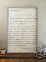 Beautiful Darling - Framed Wood Sign