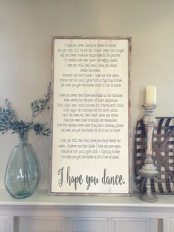 I Hope You Dance - Framed Wood Sign