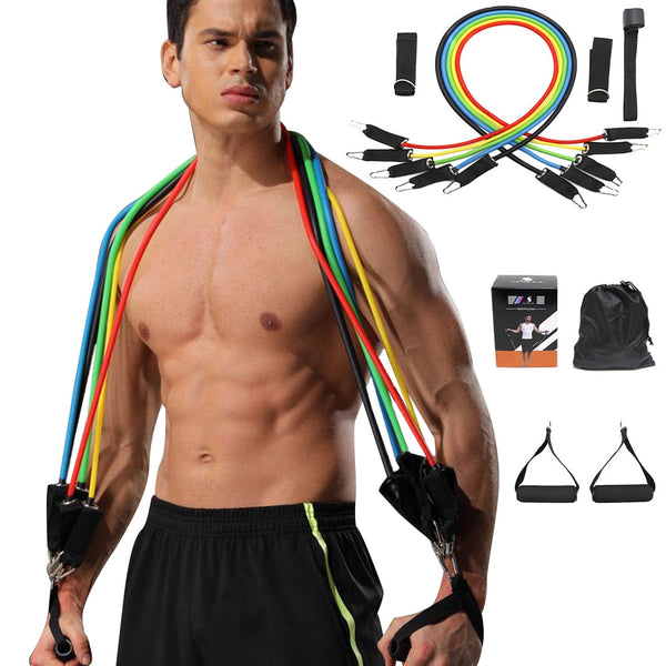 11-Piece Suit Fitness Puller Expander Home Gym Fitness Resistance Band Anti-Tension Tensile Strength Weight Squat Bodybuilding