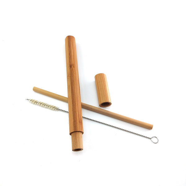Natural bamboo drinking straw travelling set