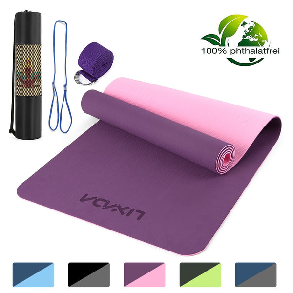 Lixada 72x24IN Non-slip Yoga Mat TPE Eco Friendly Fitness Pilates Gymnastics Mat Gift Carrying Strap and Storage Bag yoga matte