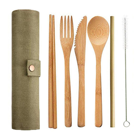 6pcs/set Bamboo Cutlery Set Wooden Flatware Set Japanese Knife Spoon Fork Straw Chopstick Cloth Bag Kitchen Cooking Tools Travel