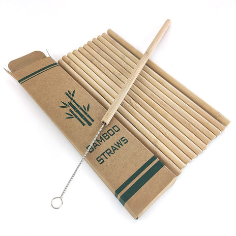 Useful 12pcs/set Bamboo Drinking Straws Reusable Eco-Friendly Party Kitchen + Clean Brush