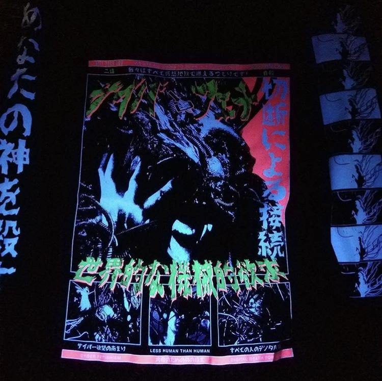 LESS HUMAN THAN HUMAN GLOW IN THE DARK & BLACKLIGHT REACTIVE L/S SHIRT 2.0 - Kill Your God