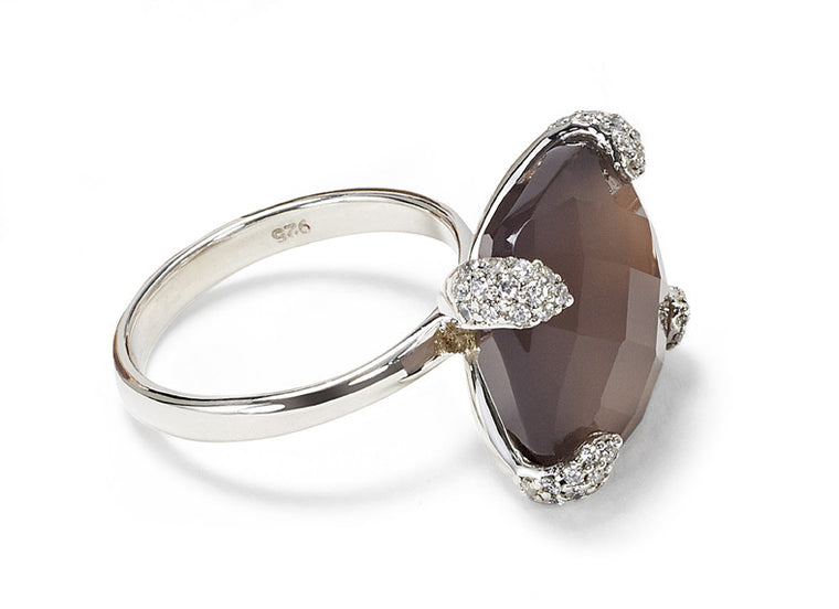 Ring CARRIE Grauer Achat