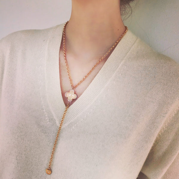 CLEIA Y-Necklace roségold, off white