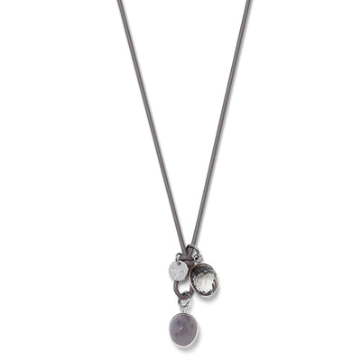 DROPS LEATHER Necklace grey