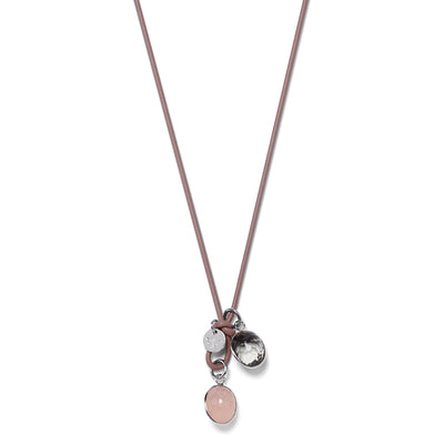 DROPS LEATHER Necklace rosewood