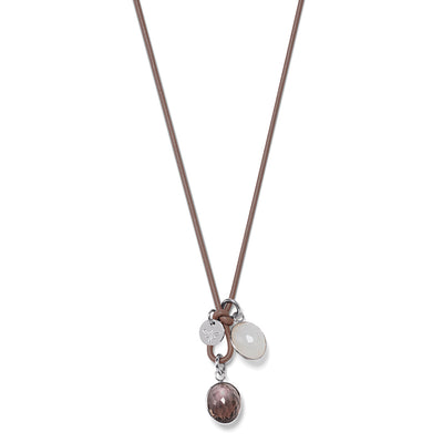 DROPS LEATHER Necklace taupe