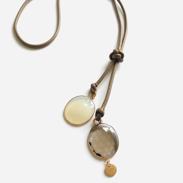 ESTELLE LEATHER Necklace roségold, taupe