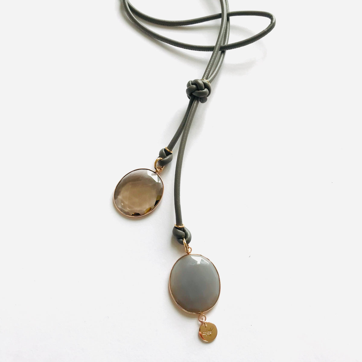 ESTELLE LEATHER Necklace roségold, grey