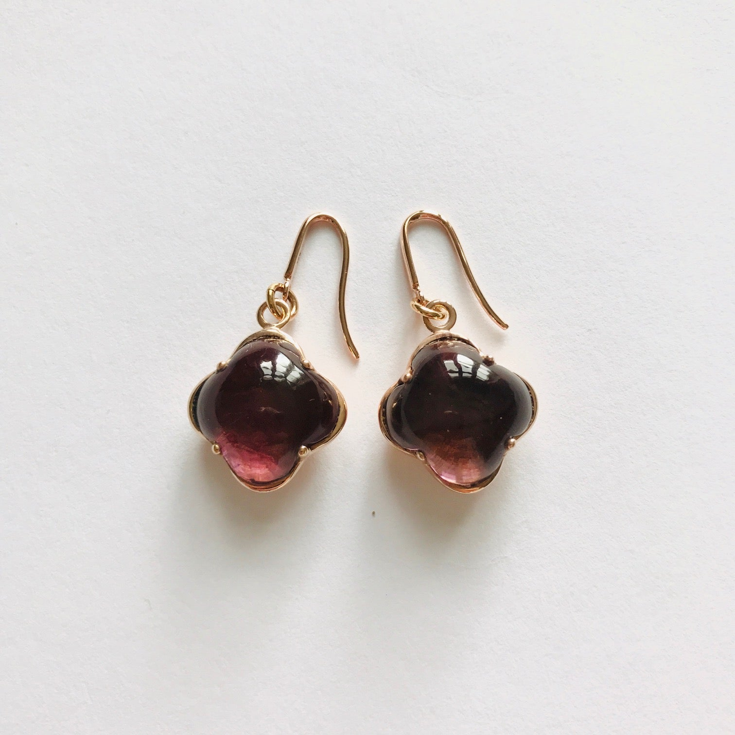 CLEIA Earrings roségold, Plum Quarz