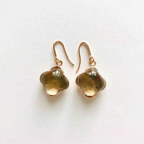 CLEIA Earrings roségold, Grey Quarz