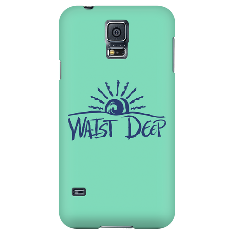 Phone Case / Sun Set Design / Navy / Sea Foam Cover