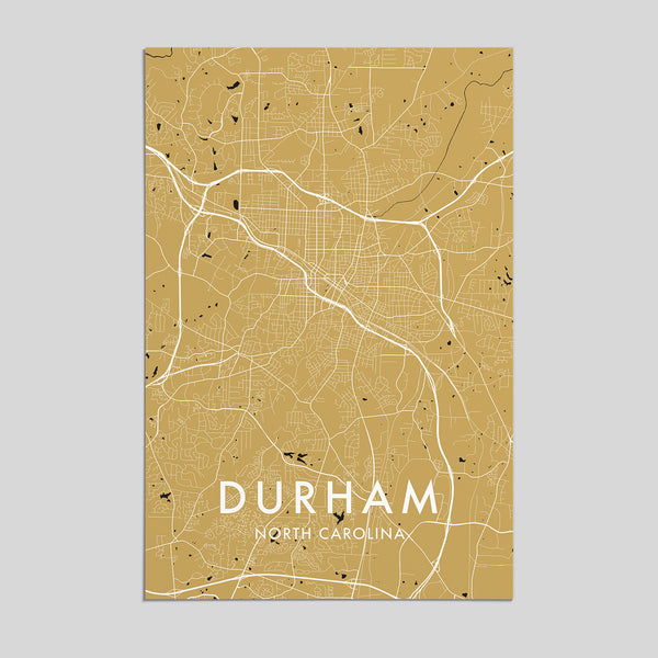 Durham, North Carolina _ City Map Print - Style 3