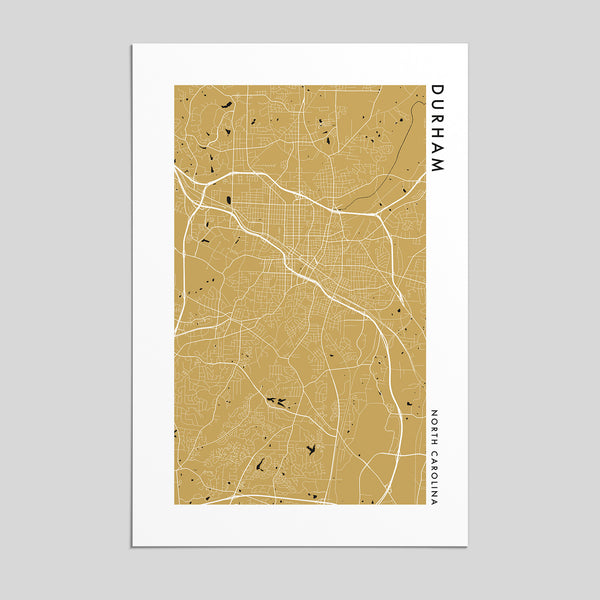Durham, North Carolina _ City Map Print - Style 2