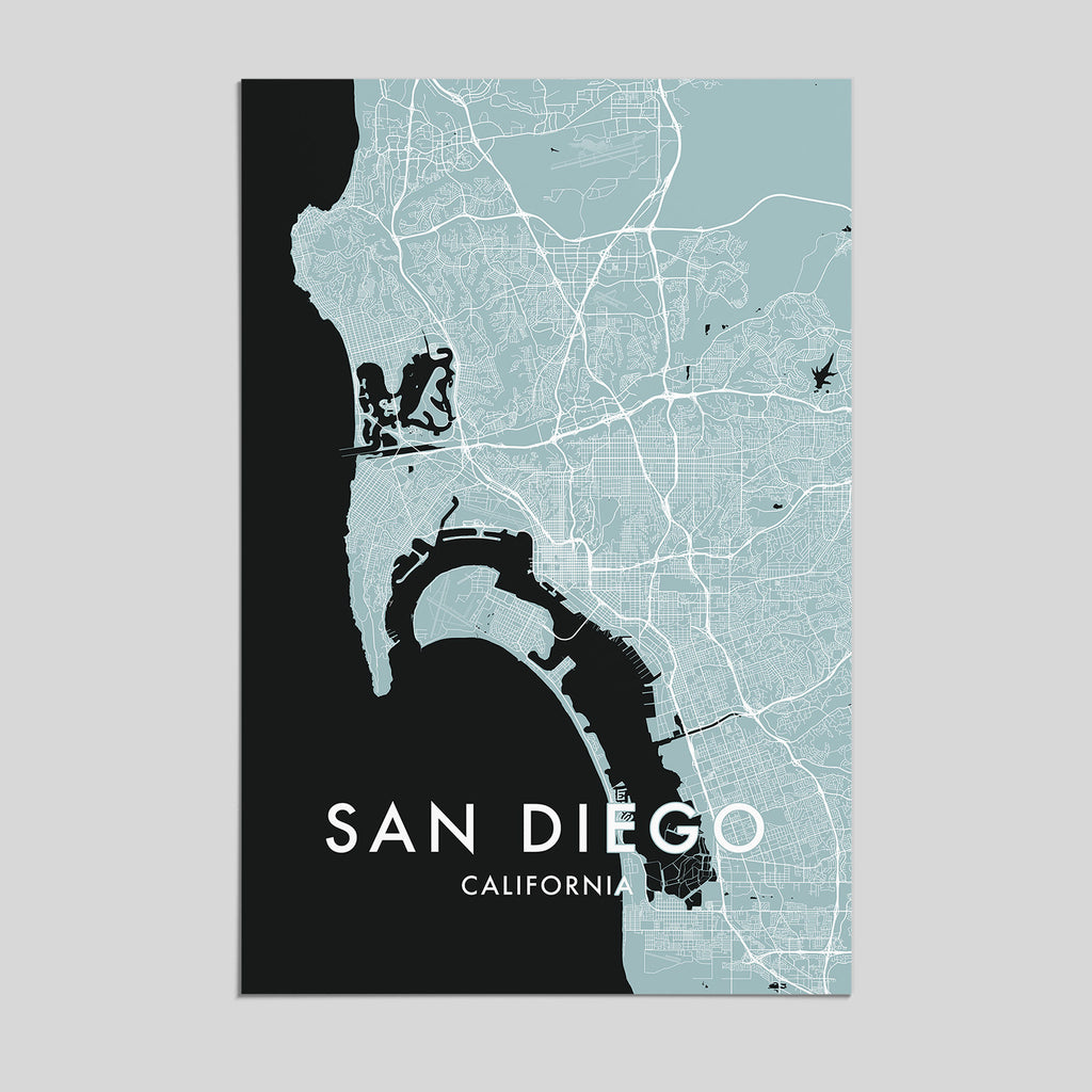 San Diego Map City.San Diego California City Map Print Style 3 Artefact Maps