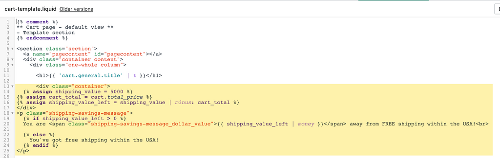 Shipping message for Shopify cart page