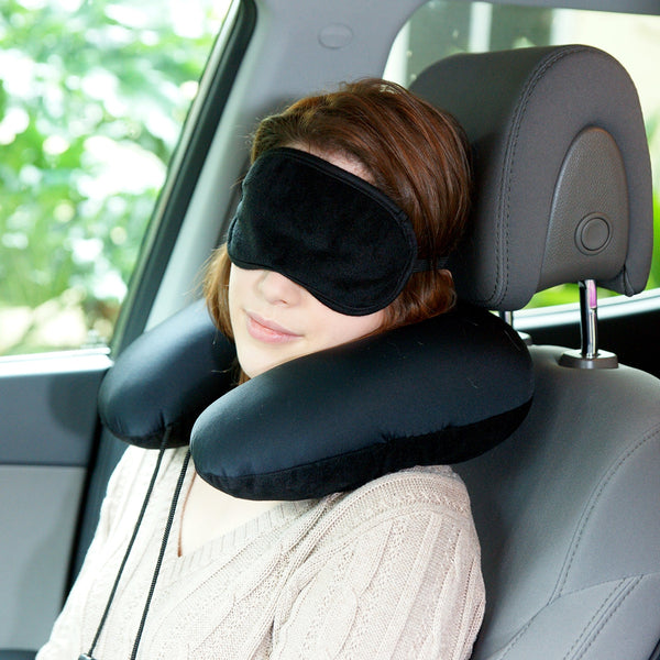 Squishy Deluxe Microbead Travel Pillow with Eye Mask