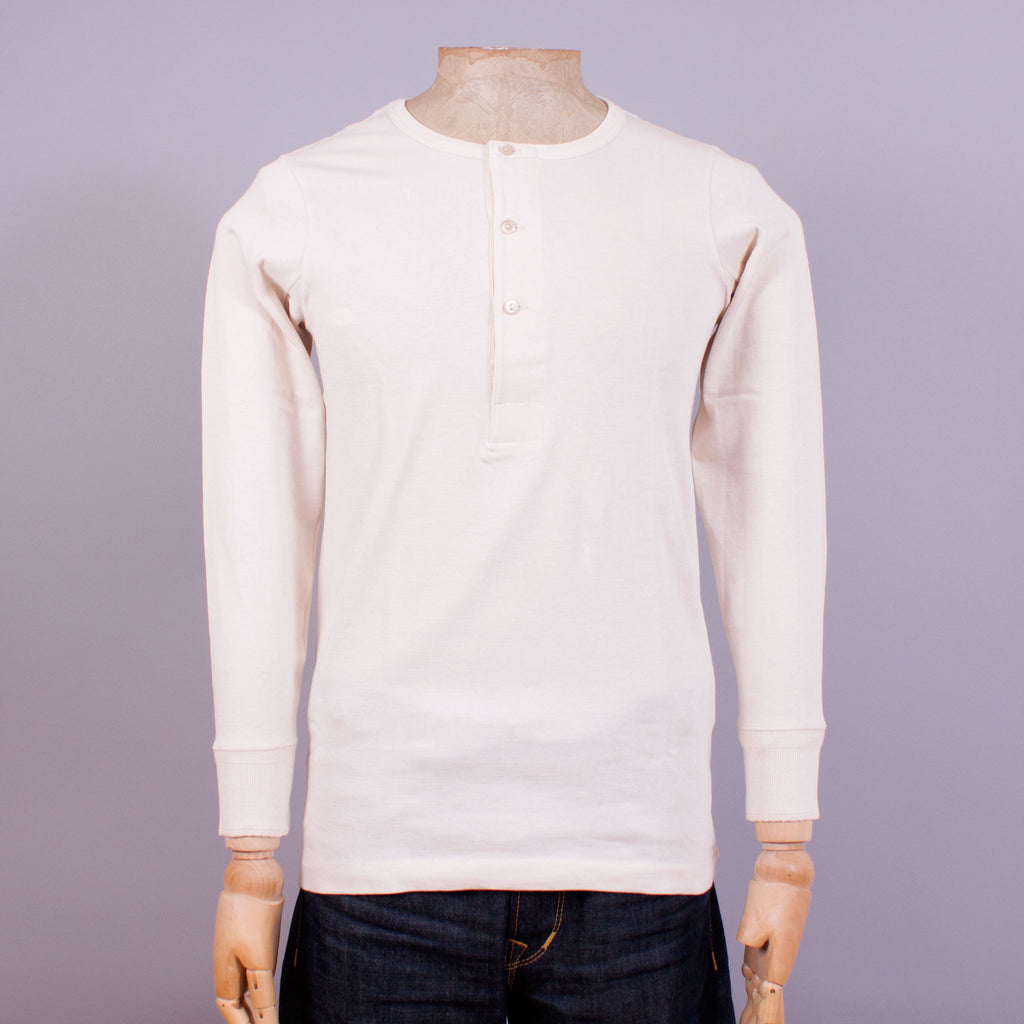 1930s long-sleeve Henley in ecru organic cotton front view