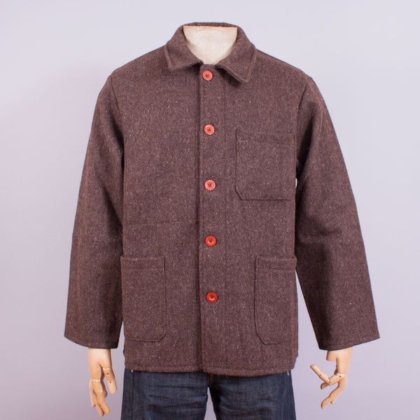 Le Laboureur French work jacket in brown Burel wool front view