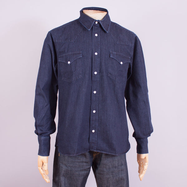 Navy Denim 1950s Shirt - J. Cosmo Menswear