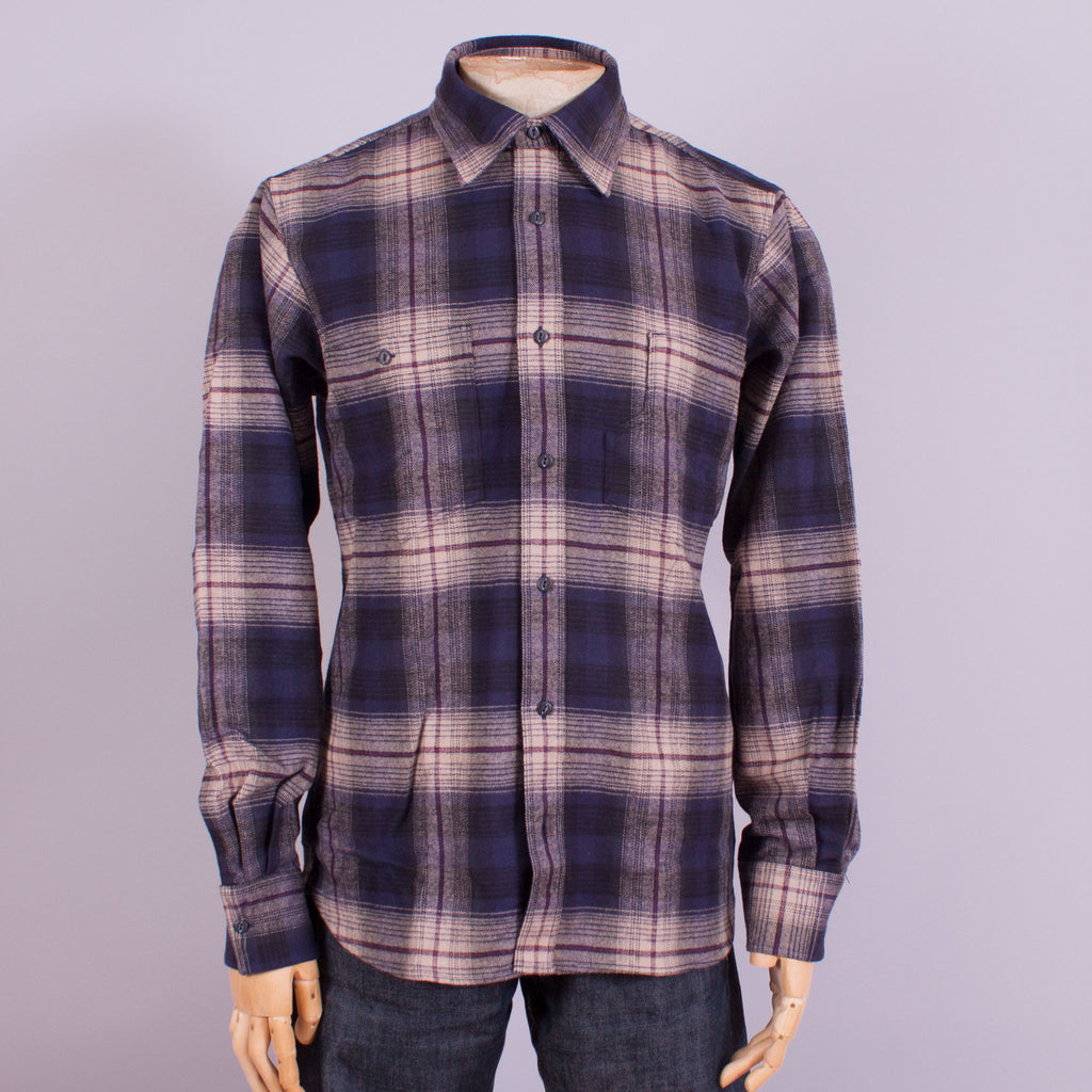 Blue/Beige Flannel Work Shirt - J. Cosmo Menswear