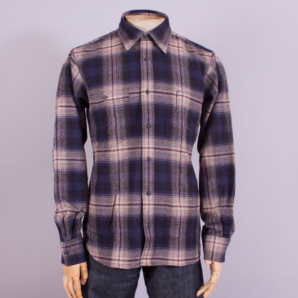 1930s - 1940s blue/beige flannel work shirt front view