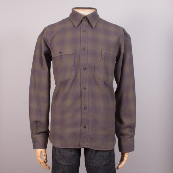 Olive Check Flannel Work Shirt