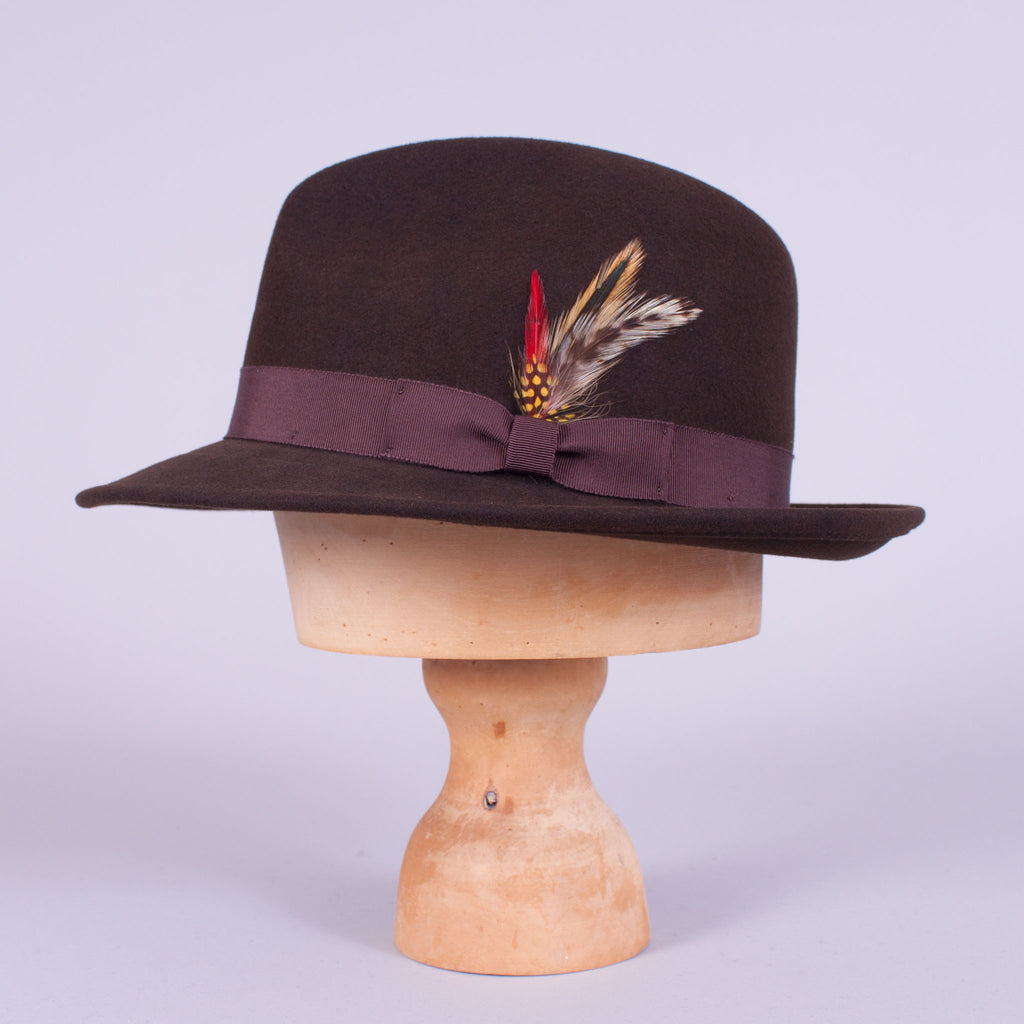 Brown felt fedora, side view with brim down