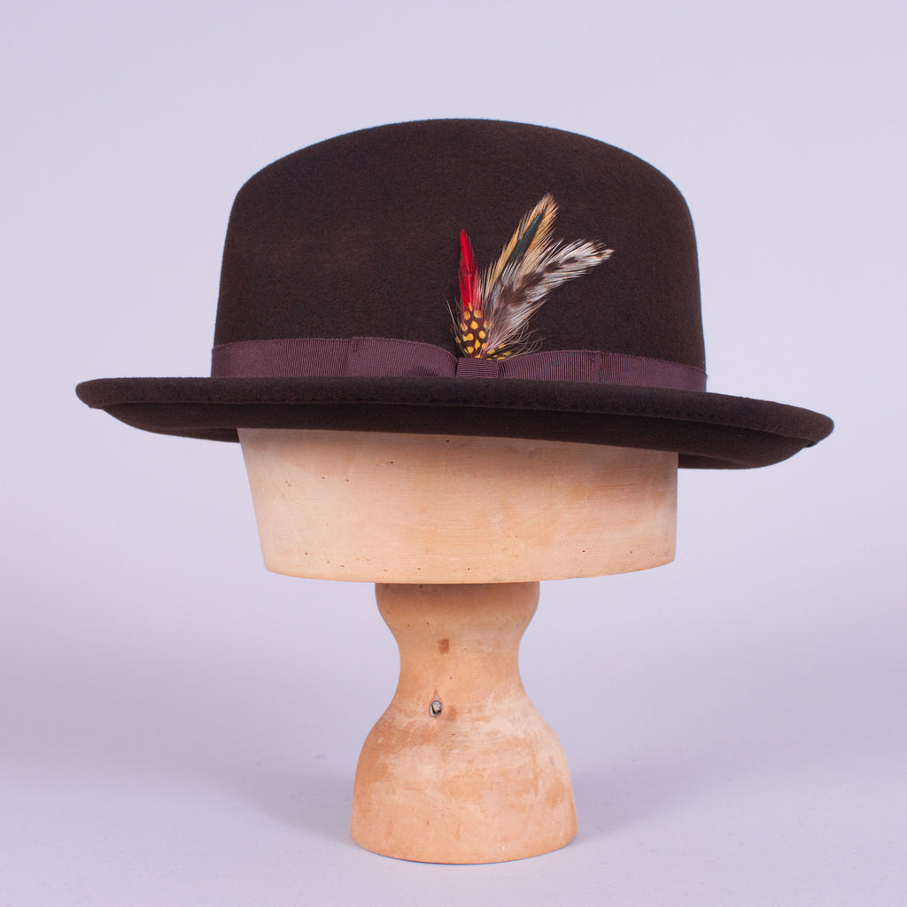 Brown felt fedora, side view with brim up