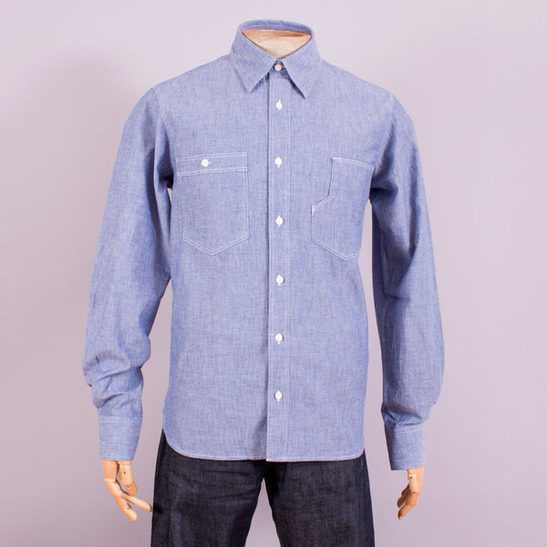 1930s - 1940s chambray work shirt front view
