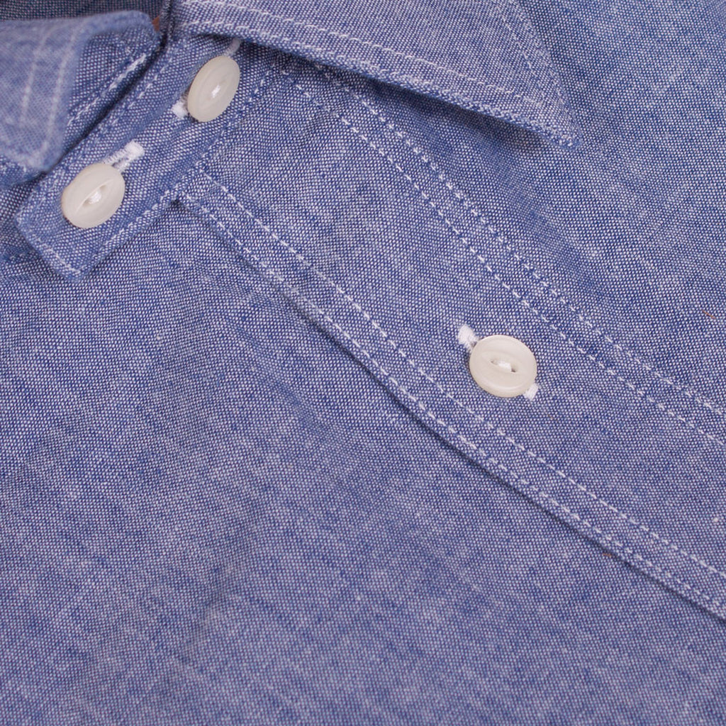 1930s - 1940s chambray work shirt chinstrap