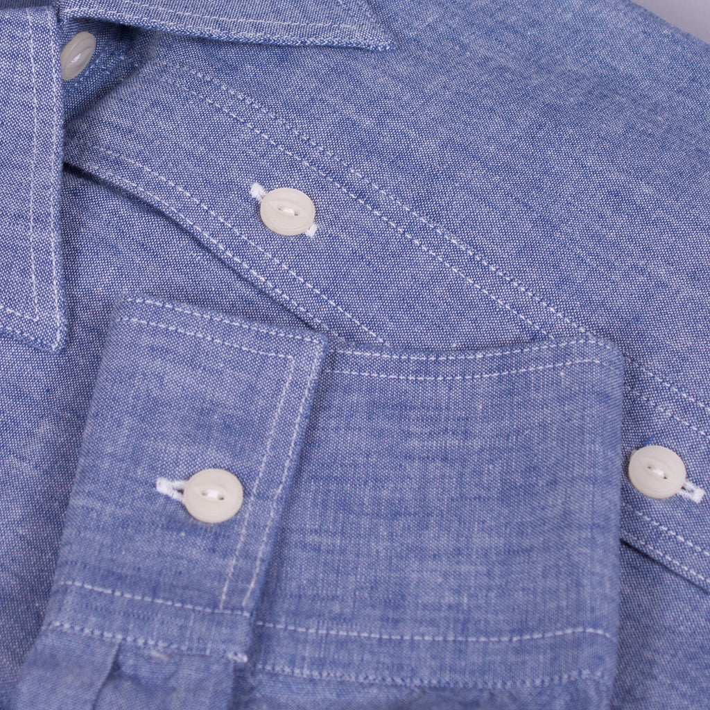 1930s - 1940s chambray work shirt cuff detail