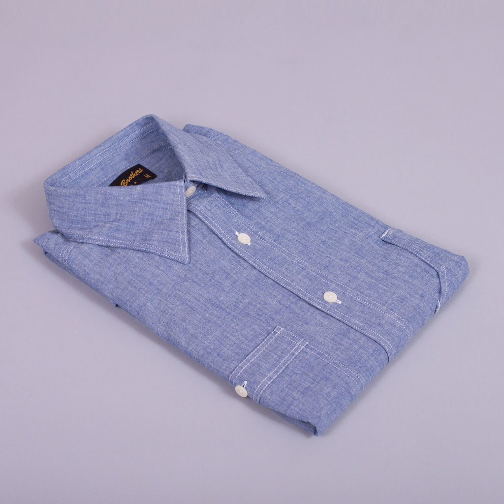 1930s - 1940s chambray work shirt folded