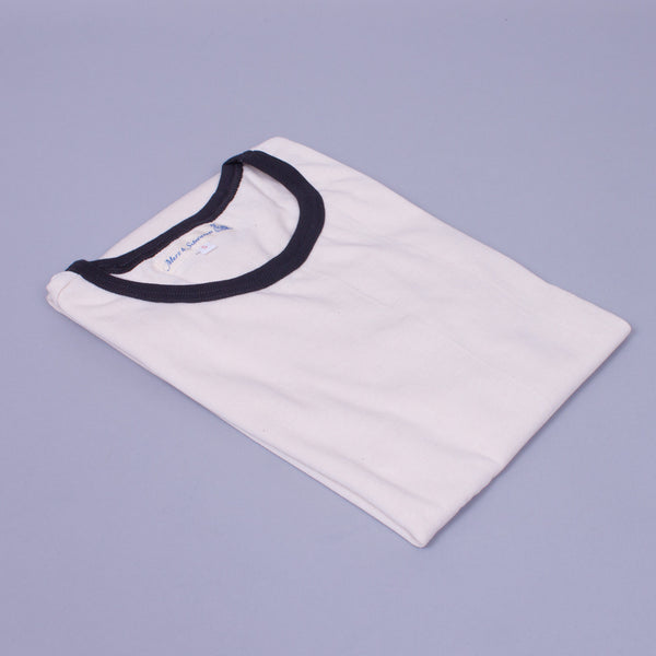 Fifties T-Shirt - Ecru w/ Charcoal Collar, Organic Cotton - J. Cosmo Menswear