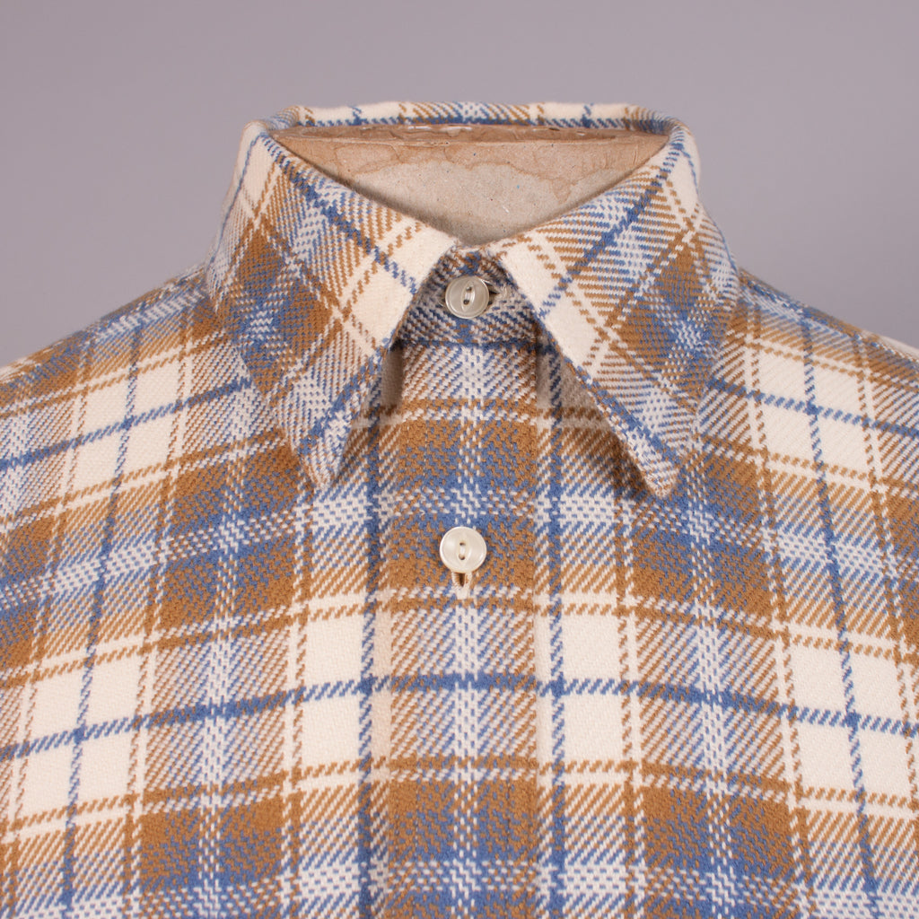 Cream/Blue Check Flannel Work Shirt - J. Cosmo Menswear