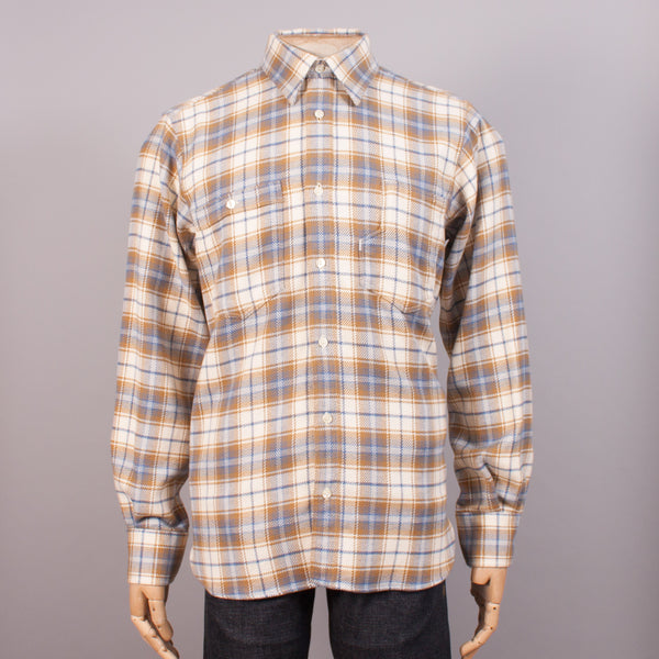 Cream/Blue Check Flannel Work Shirt