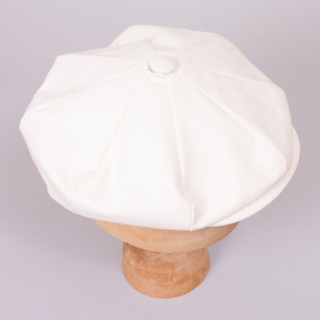 Newsboy Cap - Cream Canvas - J. Cosmo Menswear