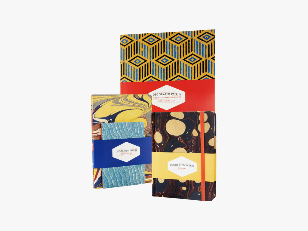 Decorated Papers: Set of 3 Notebooks - J. Cosmo Menswear