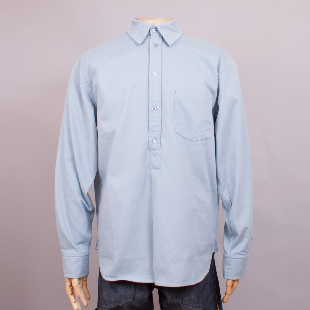 Duck Egg Blue Cotton Half Placket Work Shirt - J. Cosmo Menswear