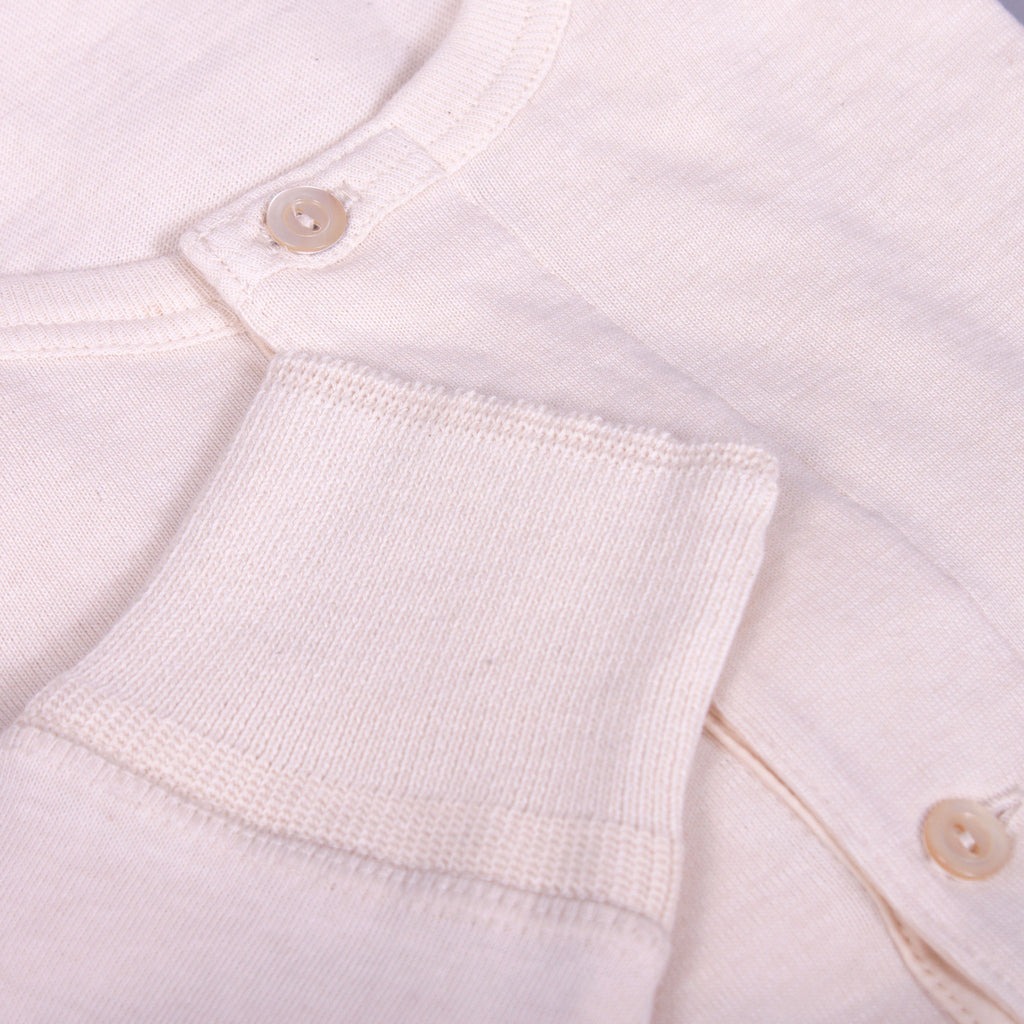 1930s long-sleeve Henley in ecru organic cotton cuff detail