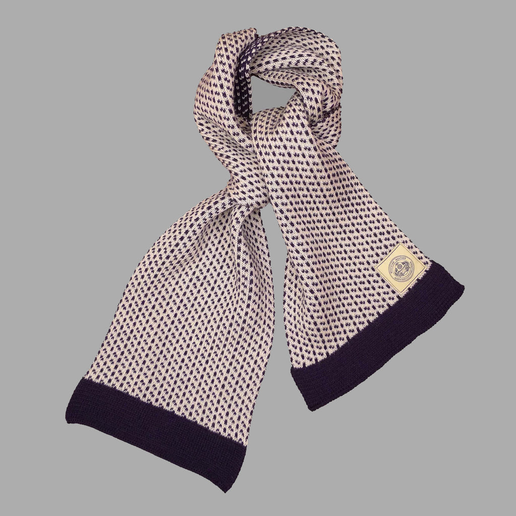 The Intrepid Scarf - Ecru/Navy - J. Cosmo Menswear