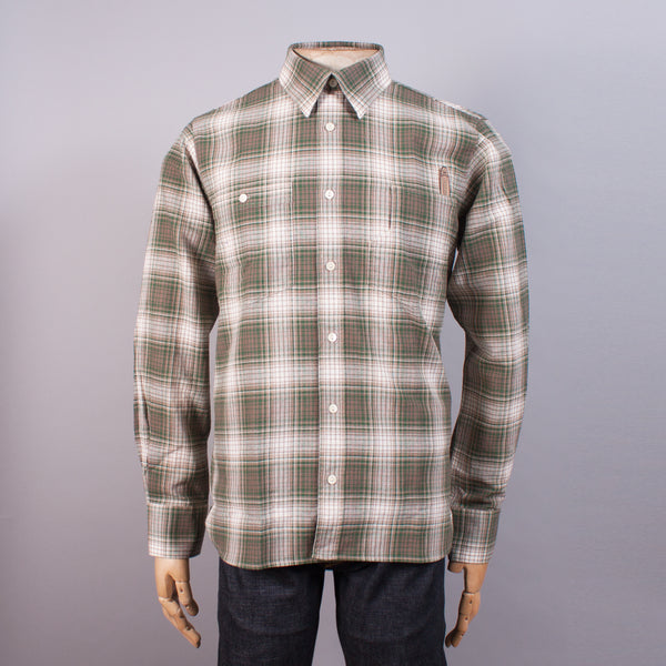 Green Check Cotton Work Shirt - J. Cosmo Menswear
