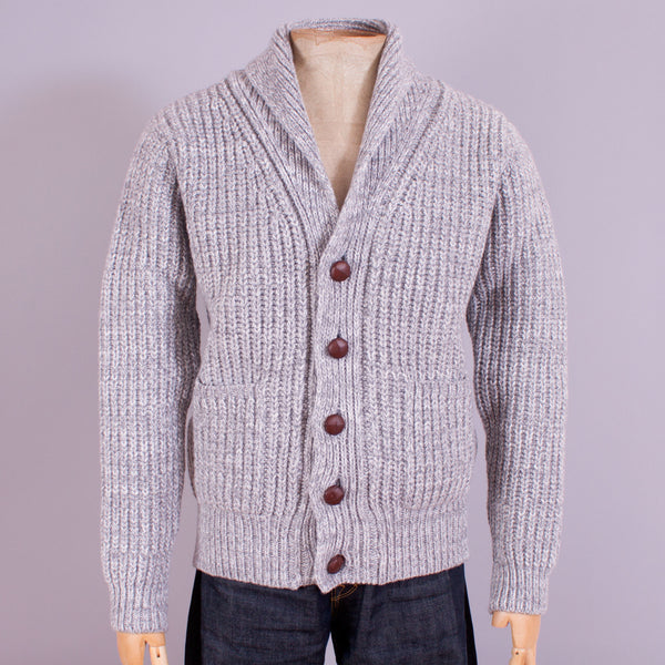 Shawl neck cardigan in grey wool front view